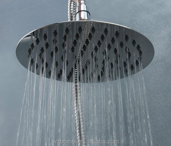 Super thin 8 inch 20cm 304 stainless steel round rainfall shower head