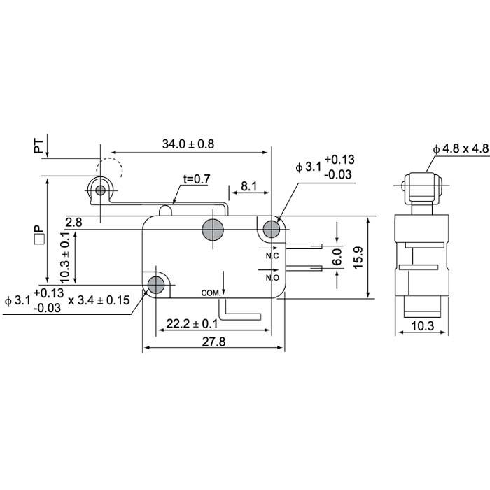 sliding gate belt conveyor limit switch thermostat micro switch kw3-0z