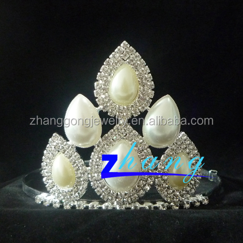 Beauty pearl rhinestone pageant tiara