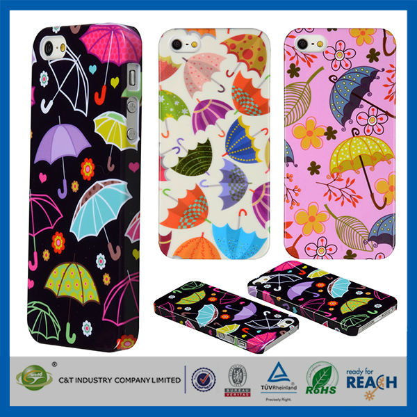 C&T Colourful umbrella Pattern for iphone cases and covers,for mobile cover iphone 5