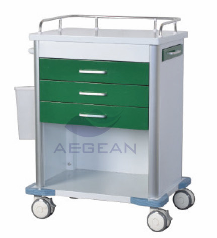 AG-GS005 dark green color steel emergency hospital medicine trolley