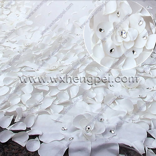 Petals dress by hand /sew on crystal beads big tail wedding dresses