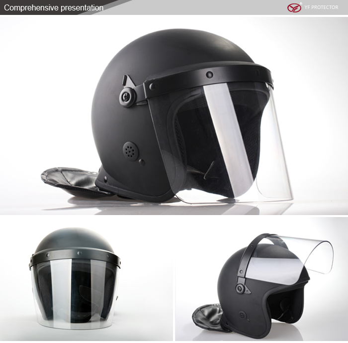 2014 Newset military anti riot helmet WITH POLYCARBONATE FACE SHIELD BLACK ROTHCO