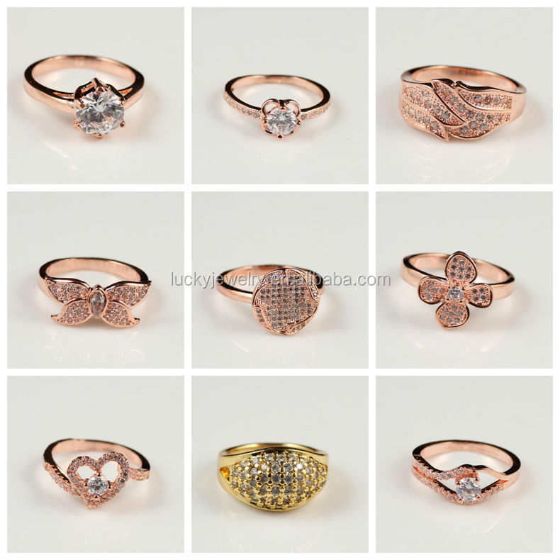 Rose Gold Beautiful Color Fashion Style American Diamond Finger ...