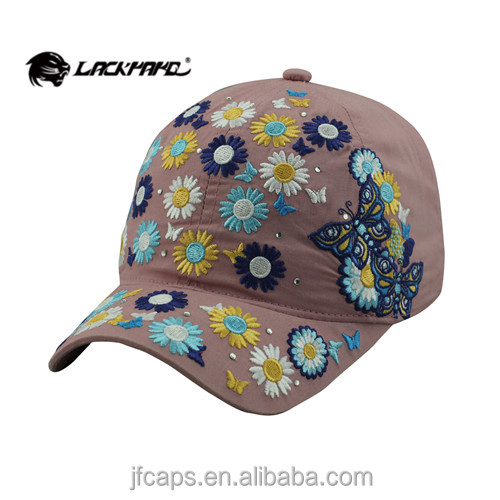 embroidery of butterfly and flowers with drill patch fashion style new 2014 baseball and golf hats and caps