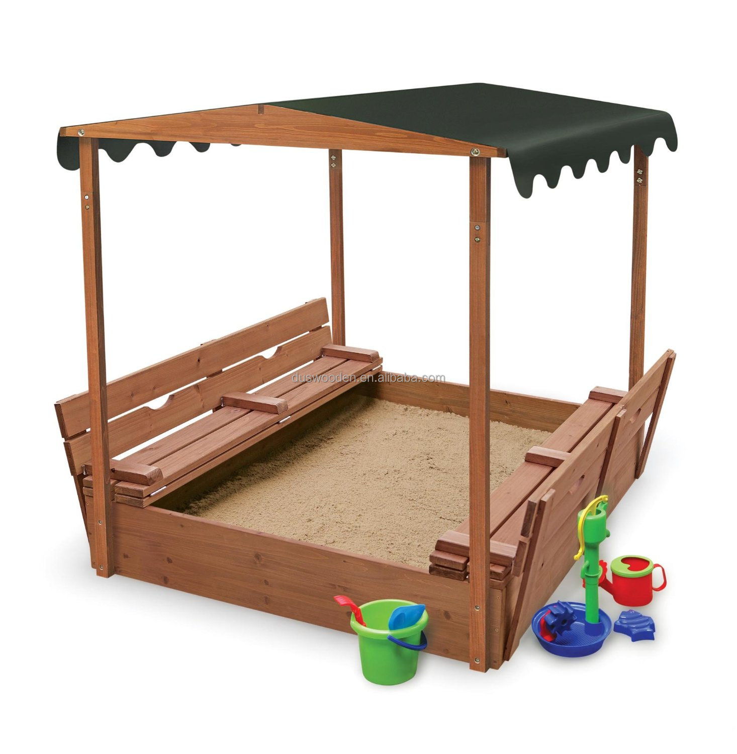 Outdoor sandbox with bench 48ft x 39ft Kids sandbox toys Waterproof & sunscreen sandbox toys