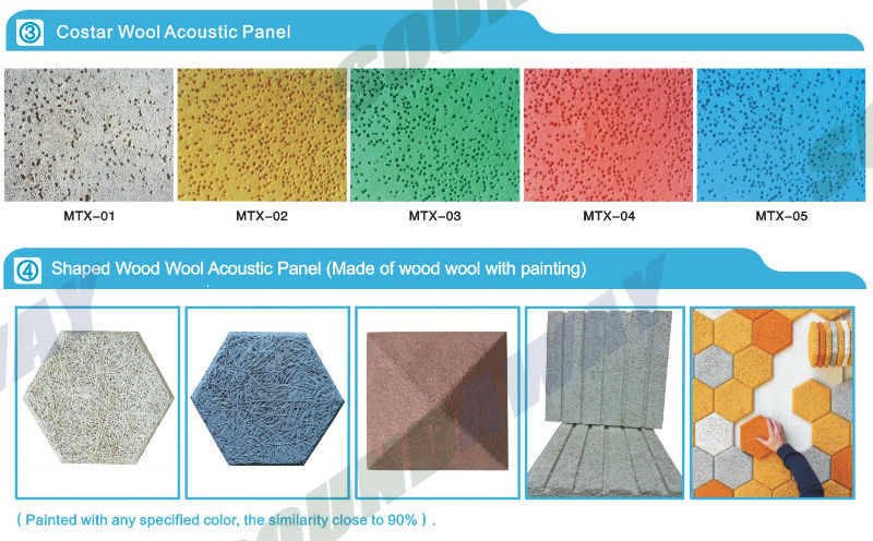 Auditorium wood wool acoustic insulation wall padding for for Sound proof wall padding