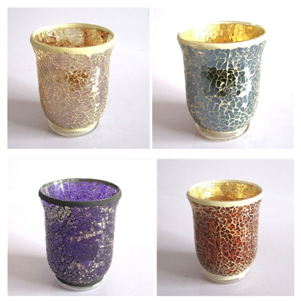 Multicoloured Vintage and Mosaic glass candle holders