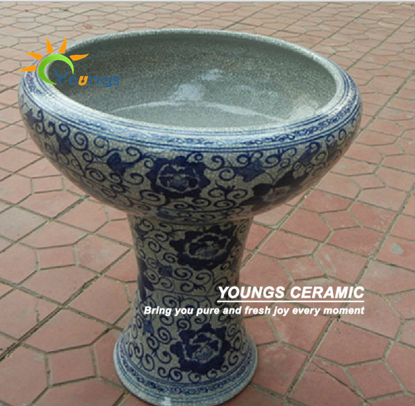 A Lot Of Large Chinese Ceramic Pedestal Flower Pot Planter For Indoor And Garden