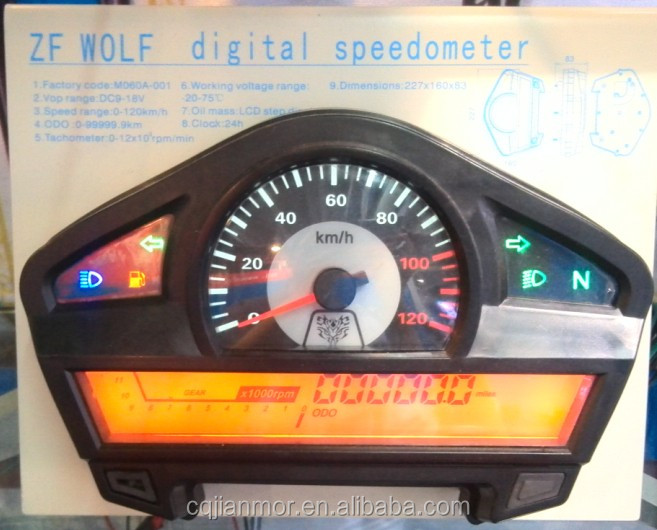 LCD display digital meter for motorcycle/ATV speedometer odometer ZF Wolf II