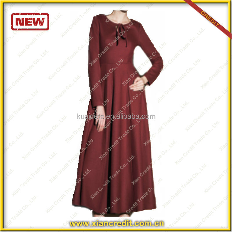 Solid color Fashional winter dress with belt for women KDT-D20