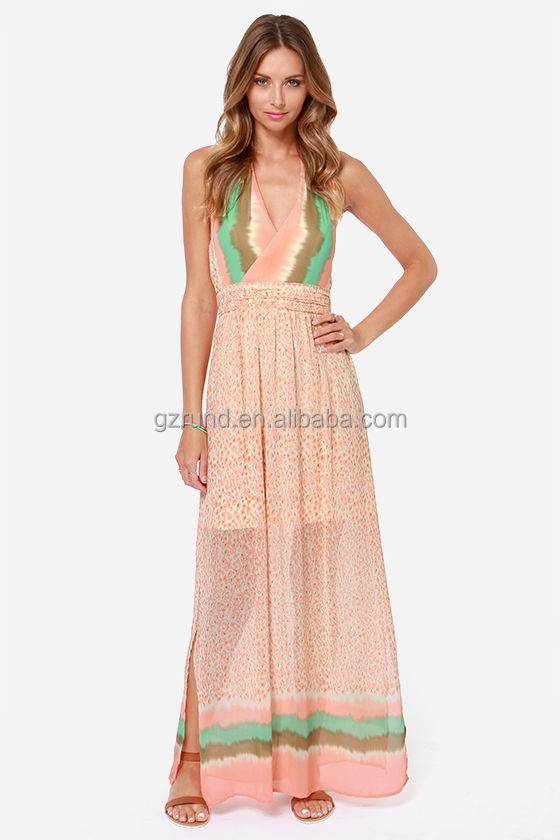 Women's Modest Vintage Boho Pleated Wholesale Chiffon Maxi Dress