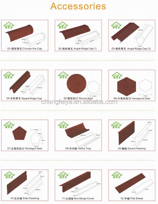 Galvalume roofing material africa Stone coated steel roof tile
