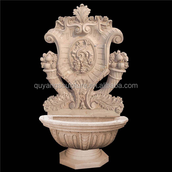 Egypt Cream Marble Water Wall Fountain Fruit Deco