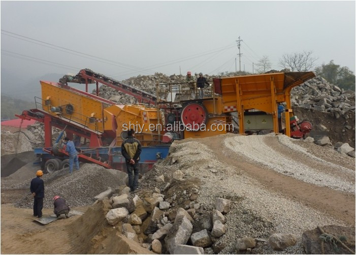 Mobile crushing and grinding and screening plant for Glass industry