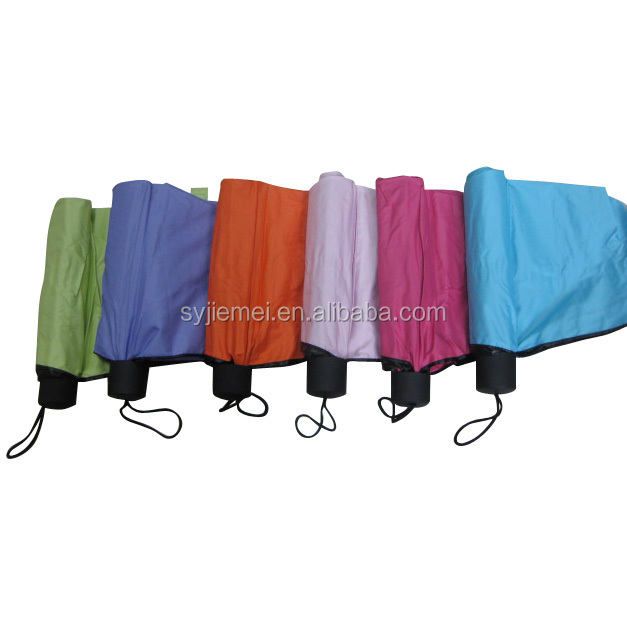 Solid color 190T Pongee fabric 3 Fold Umbrella mini Umbrella