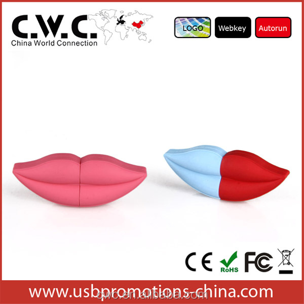sexy lips shape pvc material custom usb flash drive 1/2/4/8/16/32/64GB