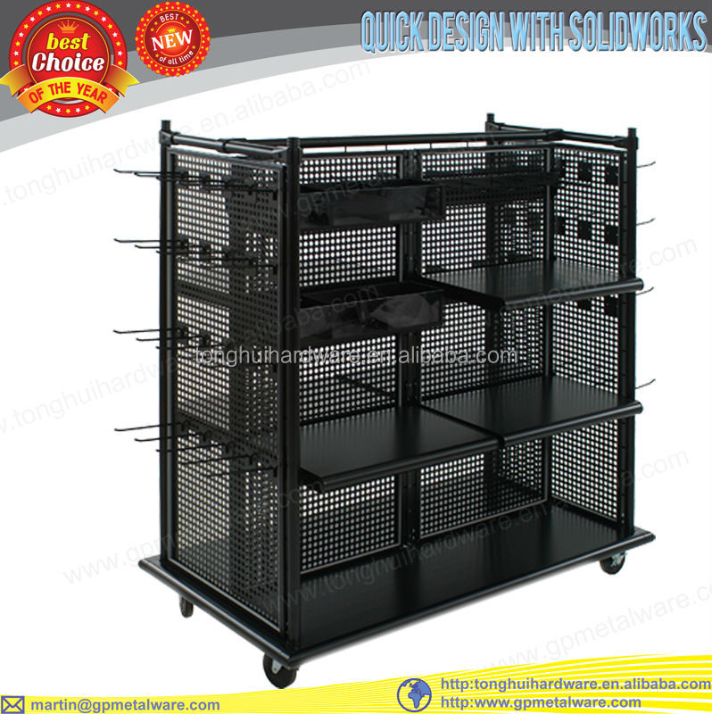 perforated metal gondola clothing display stand with caster base