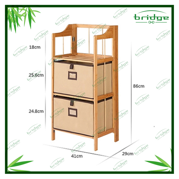 Floding 3 tiers bamboo storage shelf with fabric box