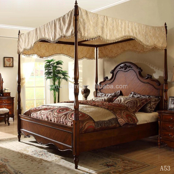 With hand carving skill american classic wood bedroom set