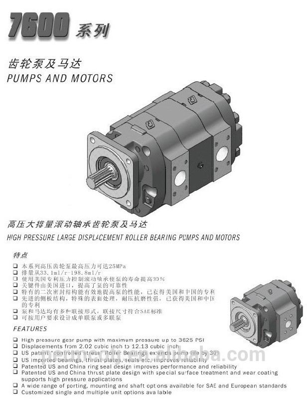 Construction Machinery Parts Permco gear pump P7600 series