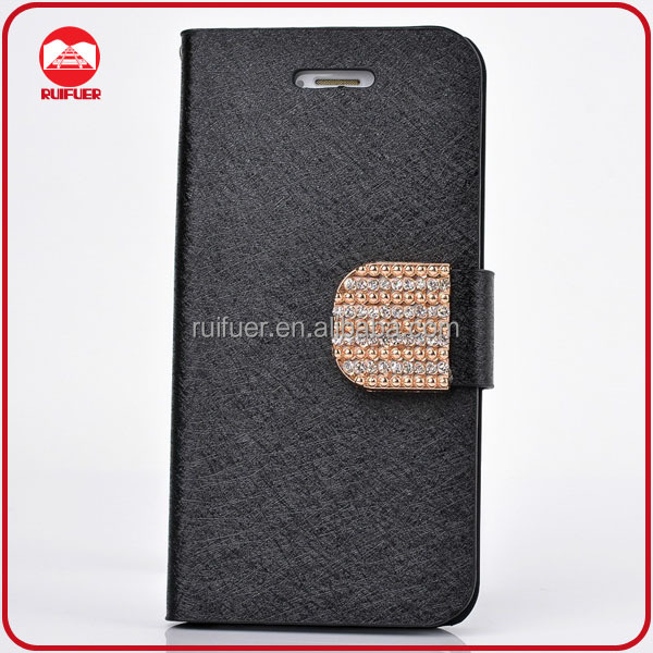 RF Manufacturer Luxury Bling Shining Silk Flip Magnetic Wallet Diamond Leather Case for iphone 5