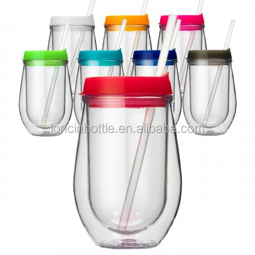 Insulated plastic stripped stemless wine glasses 10 oz acrylic stemless wine glass plastic sippy - Insulated stemless wine glasses ...