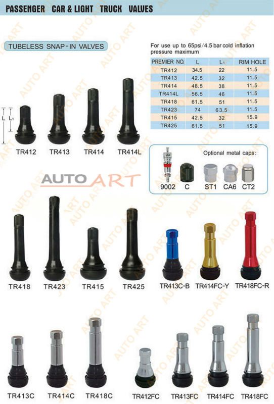 """Tire Size Chart >> Tr 415 Snap-in Tire Valve Stem Rubber In 1 1/4"""" - .625"""" Valve Hole Tr415 Short - Buy Tr 415 Snap ..."""