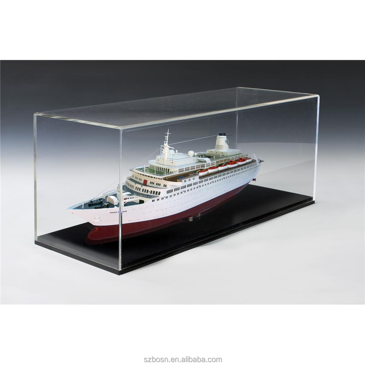 Transparent professional good quality acrylic model display case with model display case for sale