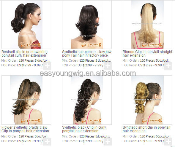 Golden small ponytail hairpieces, claw clip hair accessories