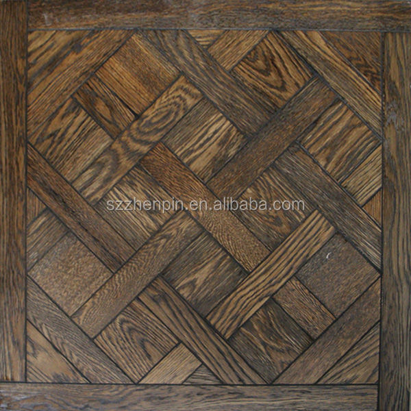 Dark Color Engineered Oak wood versailles art parquet flooring panel