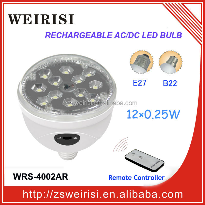 Rechargeable AC/DC SMD LED (5050) Ceiling Bulb with Remote Controller E27/B22 (WRS-4002AR)