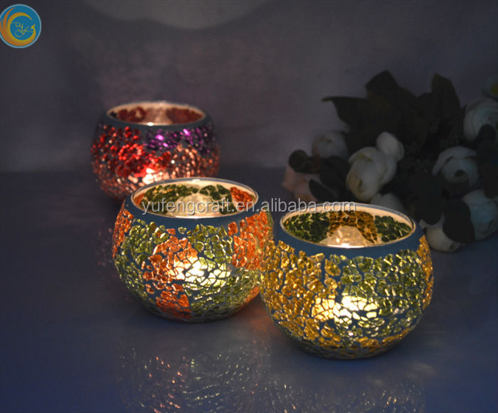 custom-made mosaic glass votives wholesale glass mosaic candle holder as decorate glass jar