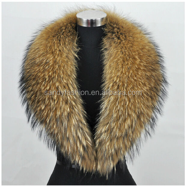 natural color raccoon collar for jacket raccoon fur stripes