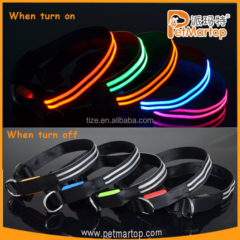 LED dog collar TZ-PET5000 Light up dog collar with double-line round optical fiber +Waterproof, bright colorful light