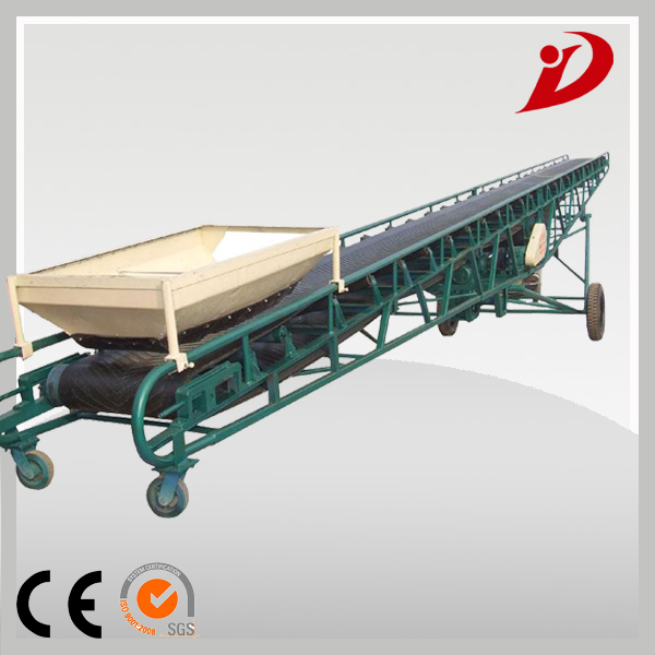 grain coal hopper mobile flat inclined rubber belt conveyor machine