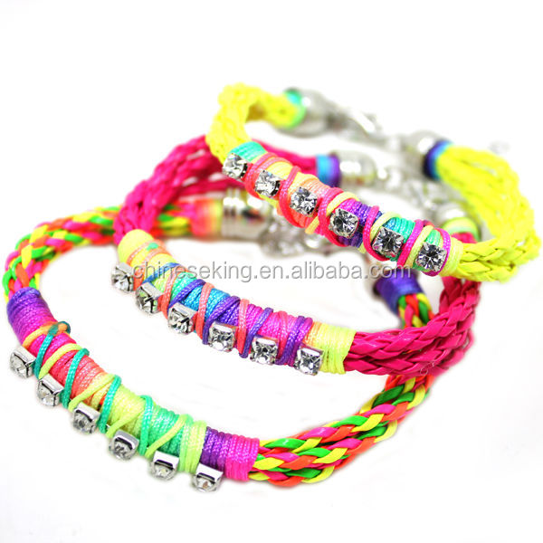 color woven string Bracelet handmade cord friendship bracelets Trendy Hippie beach stack bracelet for promotion