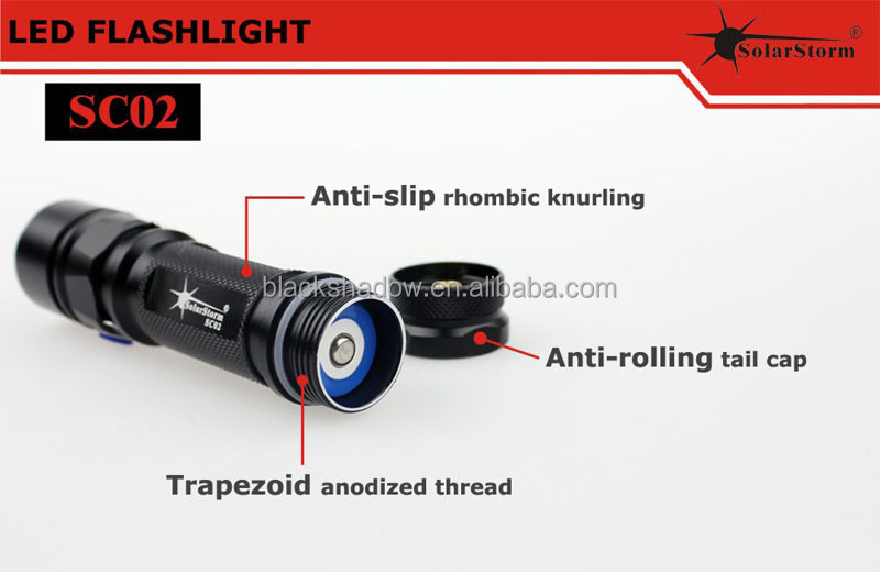 High quality 2014 newest Solarstorm SC02 aluminum waterproof cree xm-l2 u2 mini flat led flashlight
