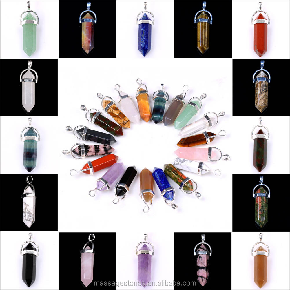 Colorful Mixed Semi-Precious Stone Pendant Hexagon Prism Pendant Gift