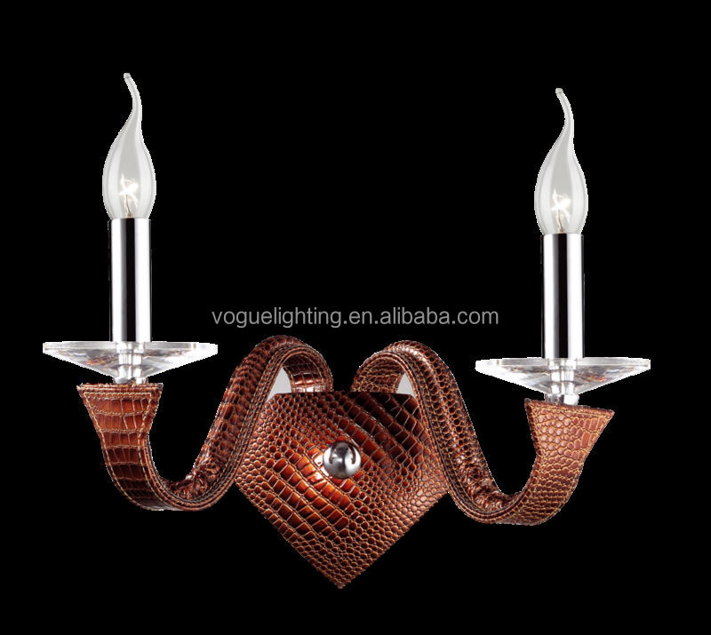 Leather+crystal wall lamp 2L HB1306-2D