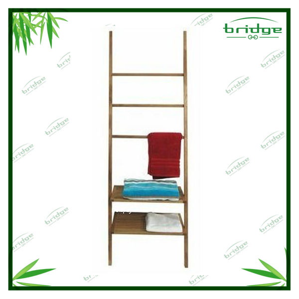 concise and durable bamboo towel rack wood shelf