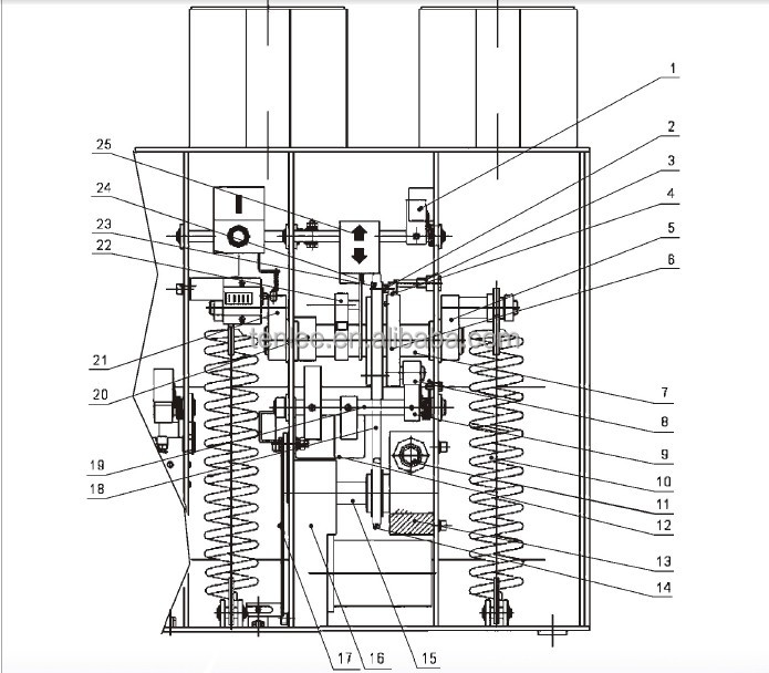 indoors vs1 frontal spring operating mechanism 24kv vcb