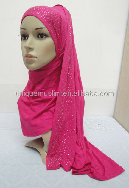 JL051 latest cotton jersey scarf with rhinestones,muslim hijab scarf