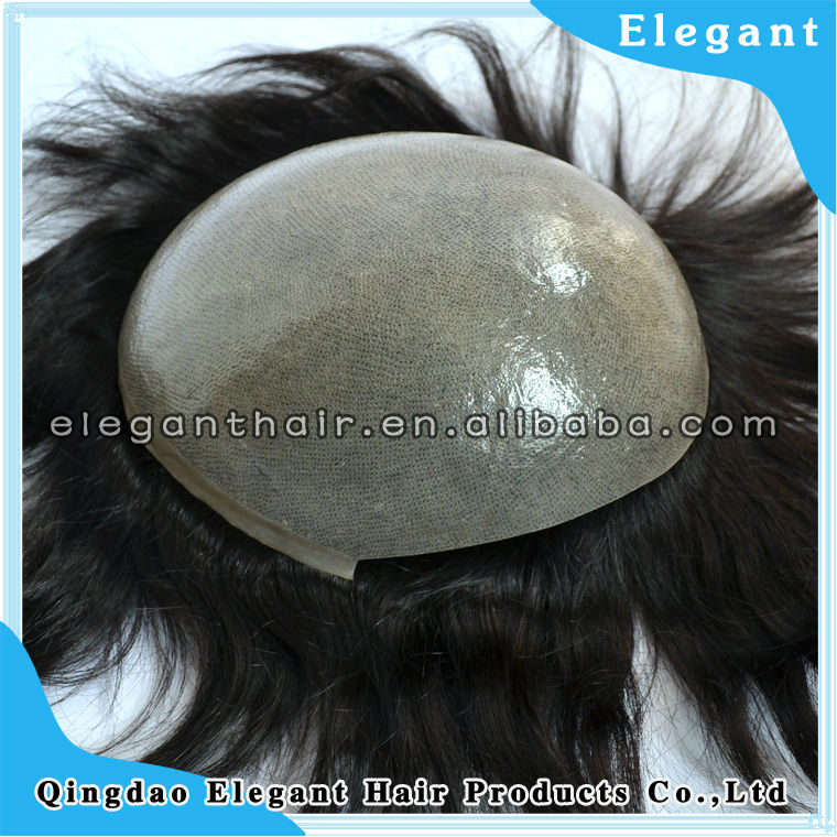 top quality remy hair full thin skin men toupee