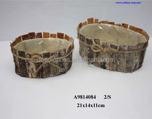 oval birch garden basket for plant