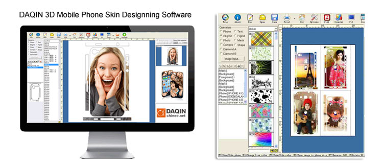Daqin special mobile skin cutting software for all brand mobile case