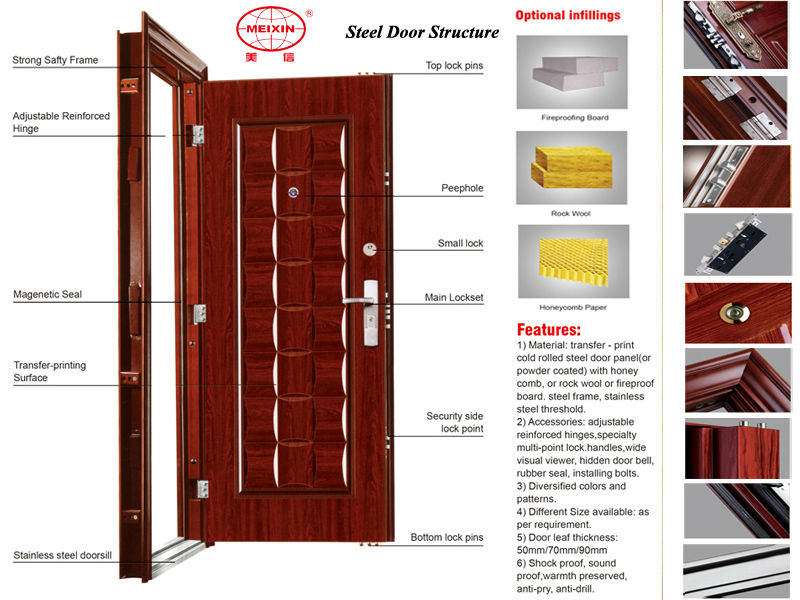 Digital Door Lock Powder-Coated Door Steel Security Door