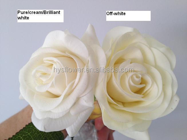 white/ivory rose decorative flower real touch latex silk roses