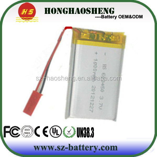 best price rechargeable lithium polymer 3.7v 1000mah 603450 battery
