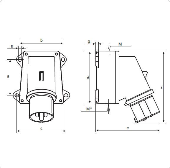 ip44 panel mount ac plug industrial surface electric plug